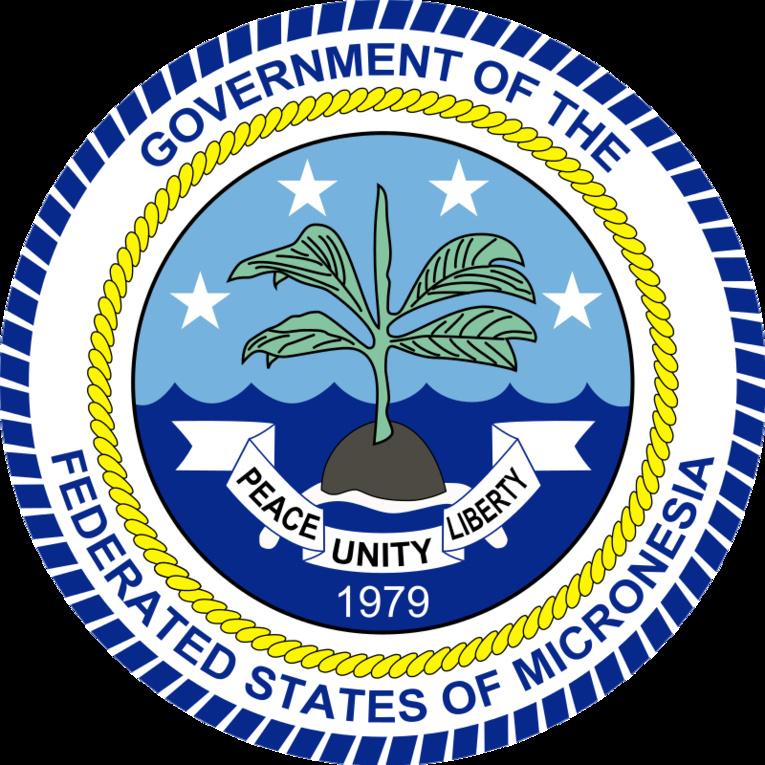 L'emblême de la Micronésie : un petit arbre sur un tout petit bout de terre, au milieu du vaste océan Pacifique (et les quatre étoiles que sont Yap, Truk, Pohnpei et Kosrae).