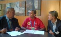 Francis Luyce, président de la FFN, Michel Sommers, président de la FTN et Lionel Horter, directeur technique national de la FFN, jeudi 25 juillet à Barcelone.