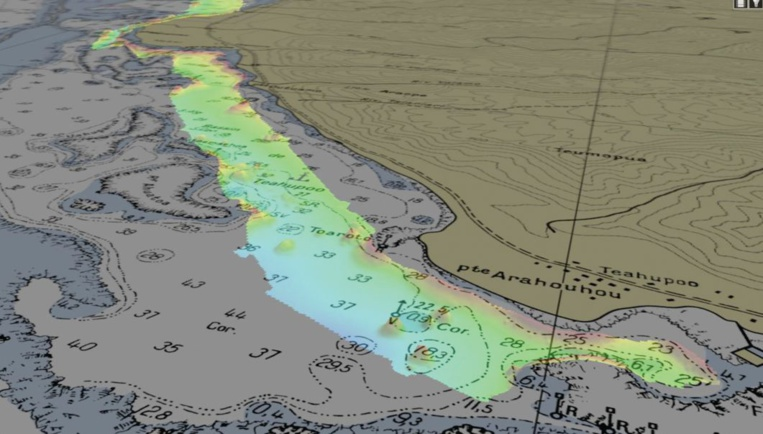 Le lagon de Teahupoo sous l'œil des hydrographes pour les JO 2024