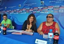 Kevin Kucsera, Vairani Davio et Henriette Kamia lors de la conférence de presse.