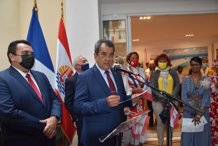 Edouard Fritch lors de la cérémonie organisée à la Délégation de la Polynésie française, mardi à Paris pour la fête de l'autonomie.