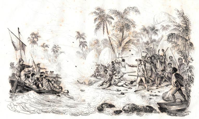 Un fier guerrier hawaiien avec son arme de poing, rendue mortelle avec deux rangées de dents de requin tigre.