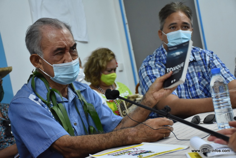 Oscar Temaru, mardi, durant la conférence de presse organisée au sujet de la manifestation anti-nucléaire Mā'ohi Lives Matter de ce samedi à Papeete.