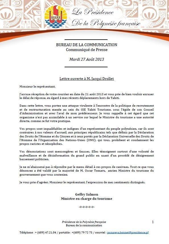 Lettre ouverte: Geffry salmon répond à jacqui Drollet