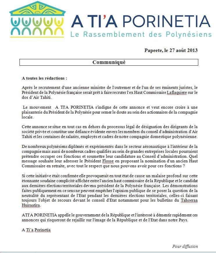 A Tia Porinetia réagit à l'annonce du recrutement de J-P Laflaquière à la direction de Air Tahiti
