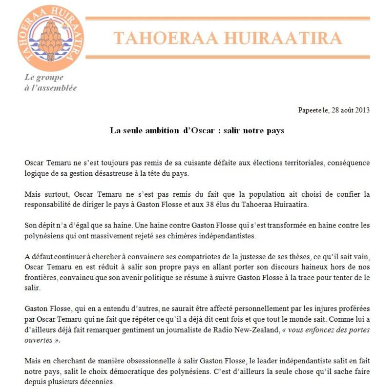 """Communiqué du tahoeraa: """"La seule ambition d'Oscar, salir notre pays"""""""
