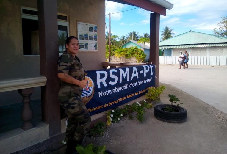 L'ancienne mairie de l'atoll de Hao a été mise à disposition des deux militaires du RSMA venus sur l'atoll pour recruter et informer.