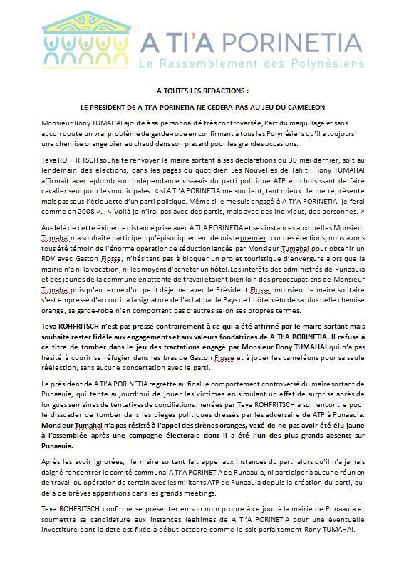 """Communiqué de Teva Rohfritsch: """"TR refuse le jeu du caméléon"""""""