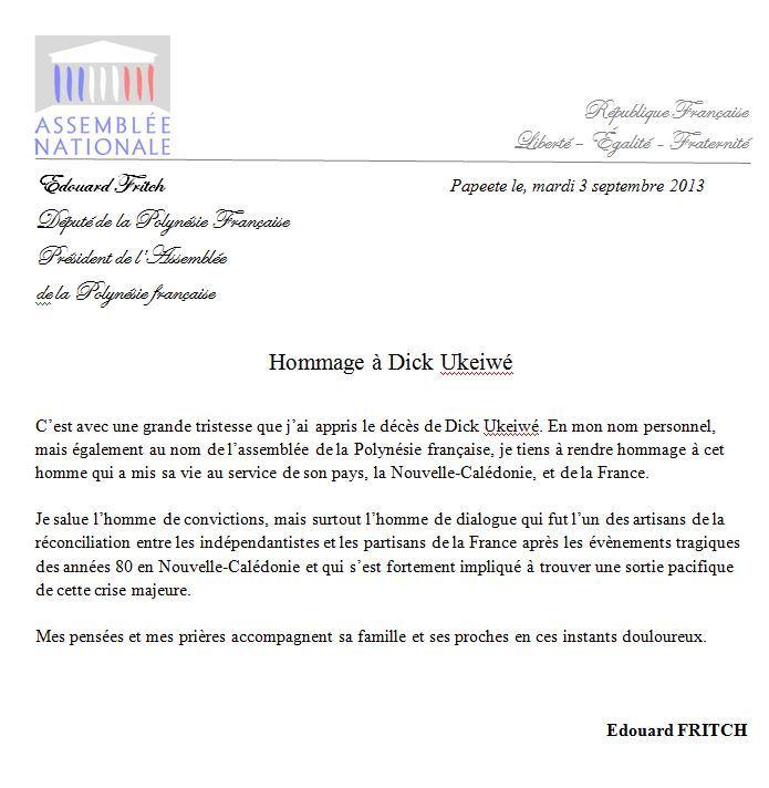Décès de Dick Ukeiwé, ancien dirigeant kanak pro-français