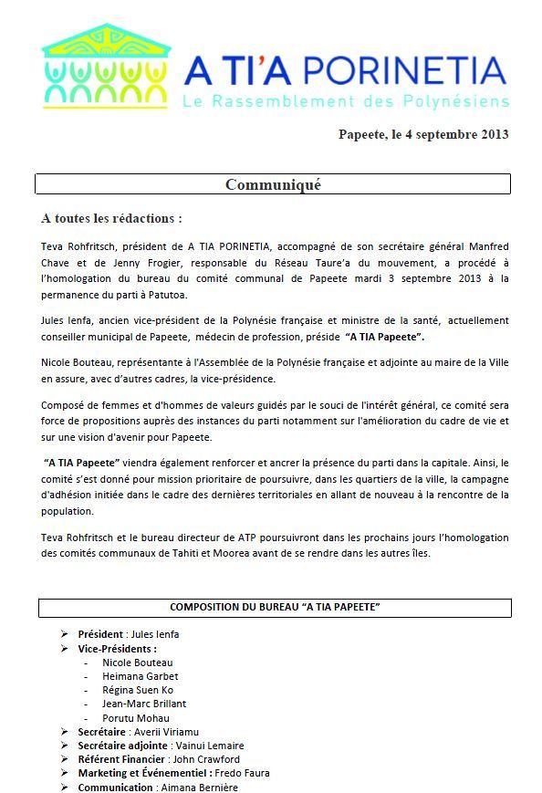 Communiqué : homologation A Ti'a Papeete