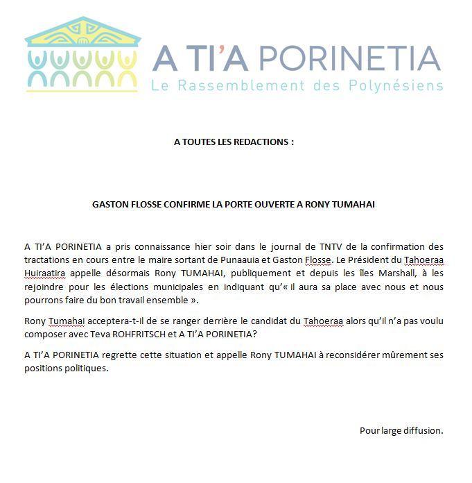 """Communiqué de A Tia Porinetia: """"Gaston Flosse confirme la porte ouverte à Rony Tumahai"""""""