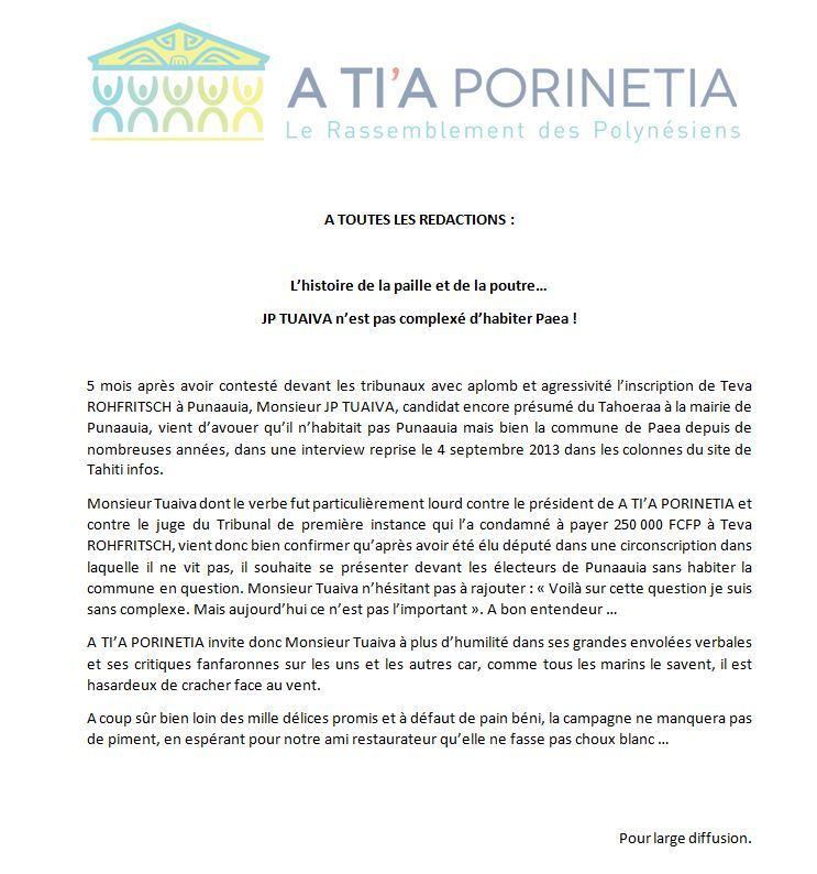 """Communiqué de A Tia Porinetia: """"L'histoire de la paille et de la poutre… JP TUAIVA n'est pas complexé d'habiter Paea !"""""""