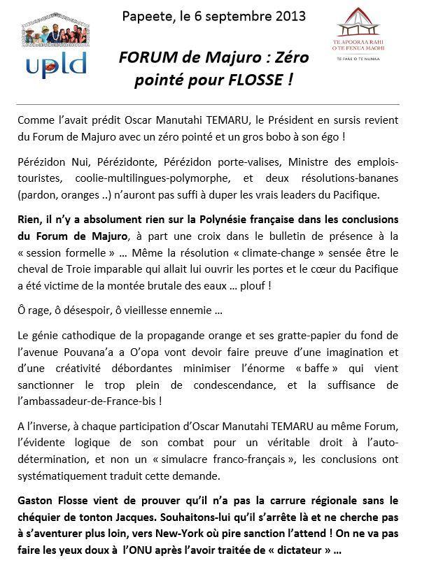 """Communiqué de l'UPLD: """"FORUM de Majuro : Zéro pointé pour FLOSSE"""""""