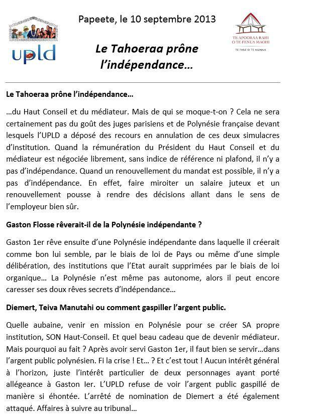 """Communiqué de l'UPLD: """"Le Tahoeraa prône l'indépendance ... """""""