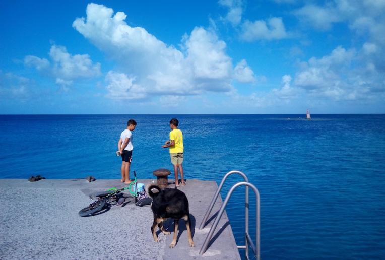 Des enfants sur le quai du village de Otepa profitent des derniers instants de pêche avant le confinement du week-end.