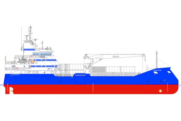 """Le Mareva Nui II pourra embarquer 1 300 tonnes de fret dont 80 tonnes en chambre froide. Il aura aussi la possibilité de transporter 12 passagers par voyage, avec un """"confort amélioré""""."""