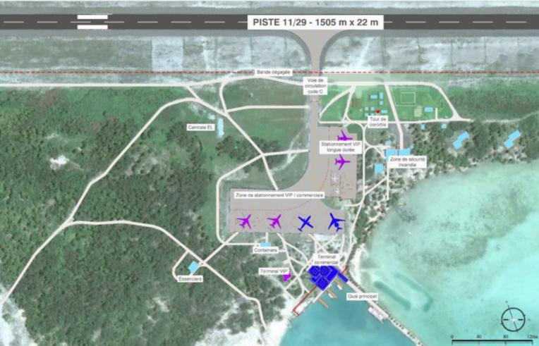La configuration actuelle de l'aérodrome de Bora Bora...