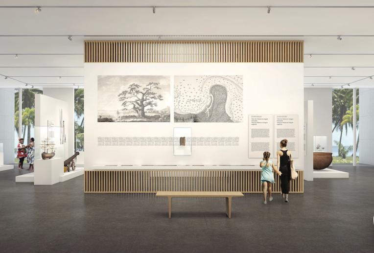 Le musée de Tahiti réserve un place de choix au maro'ura, comme on le voit ici sur une image 3D, un mur d'exposition central lui sera consacré. La réouverture est prévue en 2022. (©Musée de Tahiti et des îles)