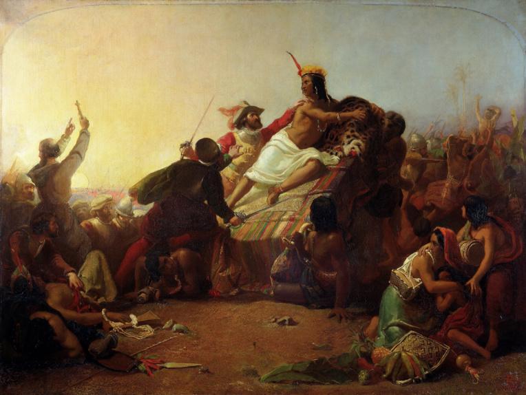 """Pizarro et sa troupe s'emparant de l'Inca Atahualpa qui sera garroté. Face à la fièvre de l'or qui s'était emparée des conquistadores, les Indiens imaginèrent pouvoir les faire partir sur l'océan en leur assurant que """"là-bas"""", il y avait des îles encore plus riches en or..."""
