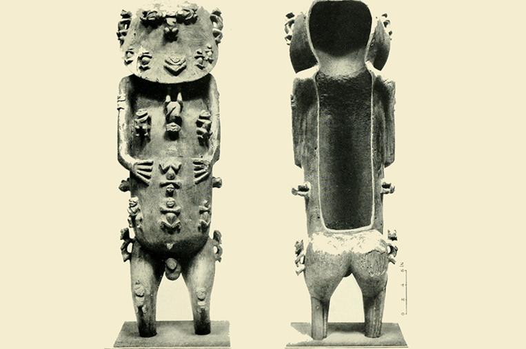 A'a, recto et verso: à l'intérieur de la statue, après un examen très minutieux, ont été trouvés une plume d'oiseau rouge et un cheveu humain, ce qui tendrait à prouver que A'a contenait les restes d'un défunt.