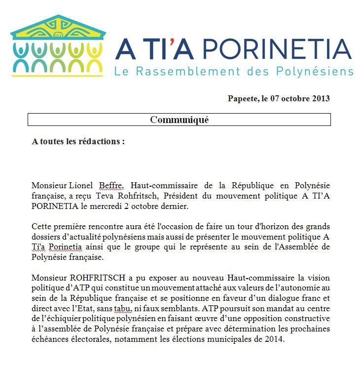 Communiqué de A Tia Porinetia: Rencontre entre Teva Rohfritsch et Lionel Beffre