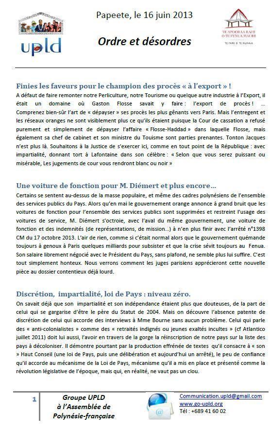 """Communiqué de l'UPLD:  """"Gaston Flosse ordre et désordre"""""""