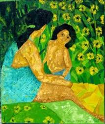 """""""Te metua Vahine e te tama"""" peinture Jean-Luc Painting"""