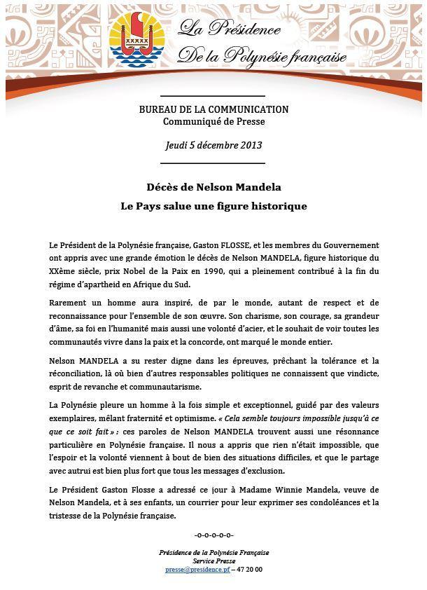Communiqué de la Présidence: Décès de Nelson Mandela Le Pays salue une figure historique