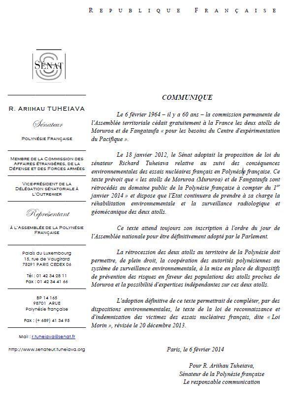 """Communiqué de Richard Tuheiava, à l'occasion du 60ème """"anniversaire"""" de la cession temporaire des atolls de Moruroa et Fangataufa."""