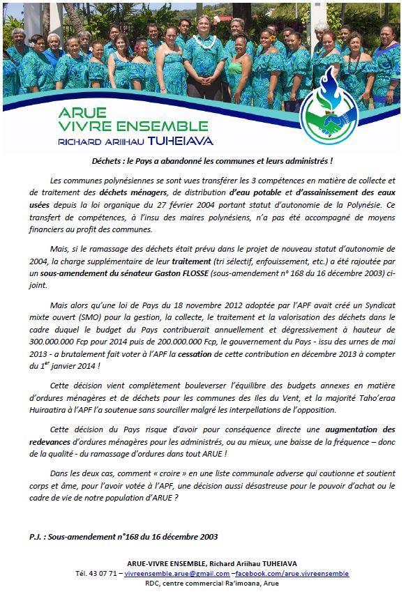 """Arue Vivre ensemble: """"Déchets: le Pays a abandonné les communes et leurs administrés!"""""""