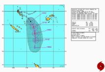 trajectoire observée et prévue du cyclone Lusi, établie le 12 mars 2014 à 09h00 GMT (Source : marine américaine / centre d'alerte aux cyclones -Joint Typhoon Warning Centre,