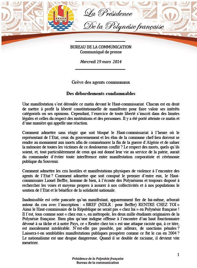 """Communiqué de la Présidence: """"Grève des agents communaux:  Des débordements condamnables"""""""