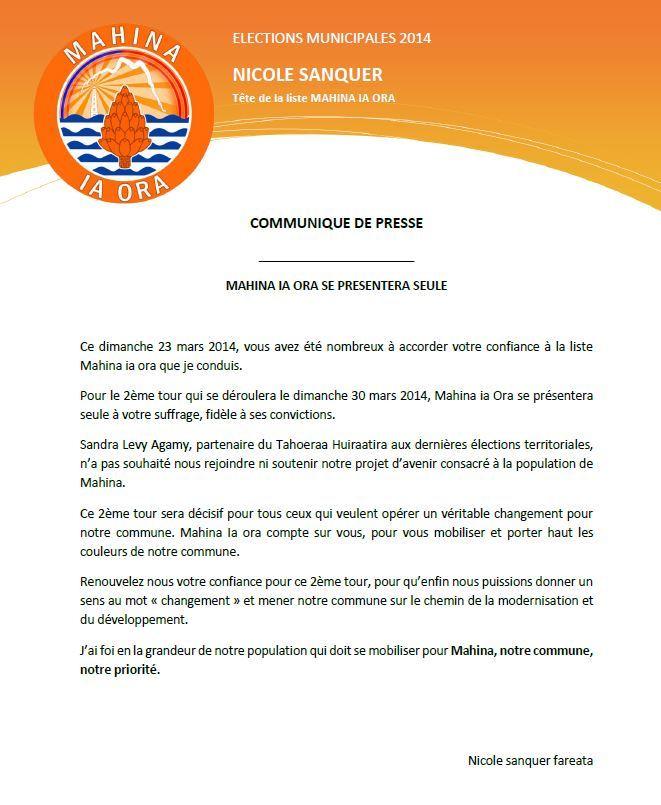 """Elections Communales 2014: la liste de Nicole Sanquer """"seule au second tour"""""""