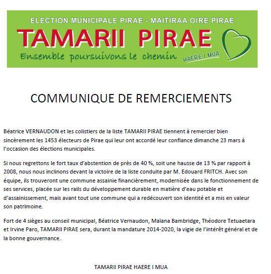 Municipales Pirae: les voeux de Béatrice Vernaudon