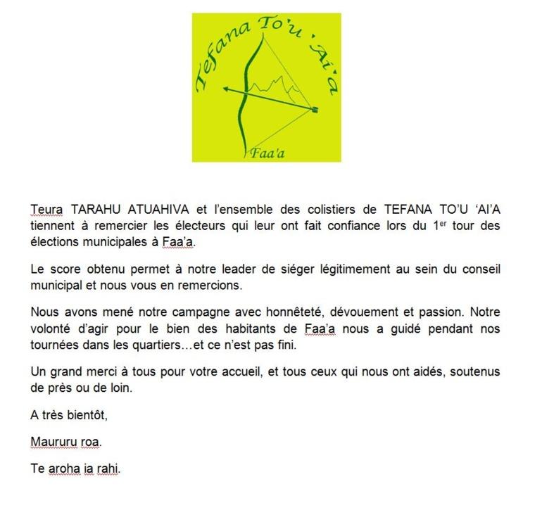 Municipales Faa'a: les remerciements de Tefana To'u 'ai'a.