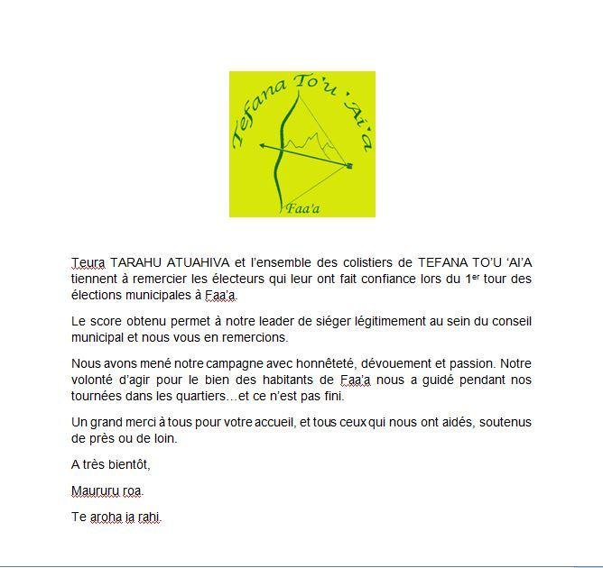 La liste Tefana To'u Ai'a remercie ses électeurs à Faa'a