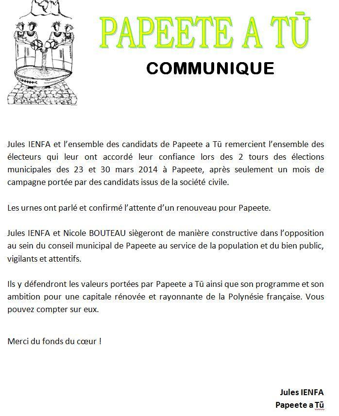 """Communiqué de Jules Ienfa: """"Les remerciements de Papeete A Tu'"""