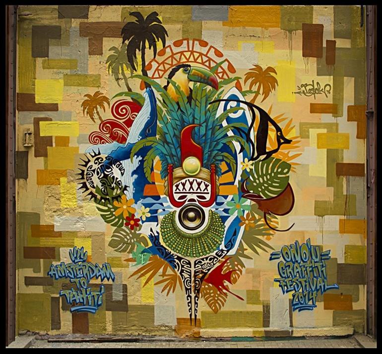 "Le graff ""Amsterdam to Tahiti"" de l'artiste hollandais Besok"