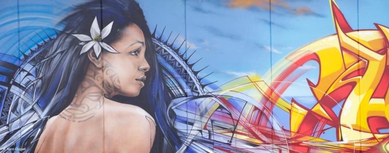 Une partie de la gigantesque fresque parisienne réalisée par Alex, Brok, Hopare, Moon1 et SeyB.