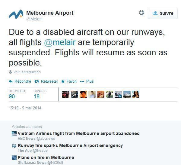 Panne sur le moteur d'un avion à l'aéroport de Melbourne