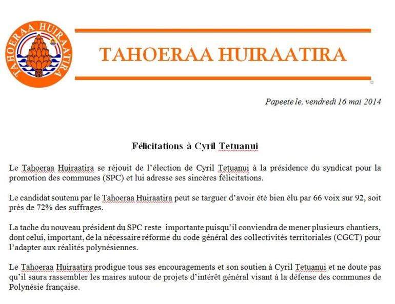 Communiqué TH: Félicitations Cyril Tetuanui