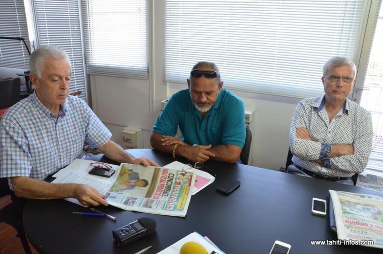 Pierre Marchesini, Félix Bernardino et Dominique Auroy lors de l'AGE du 22 mai qui a pris la décision de placer en liquidation amiable la société SELN, éditrice du quotidien Les Nouvelles de Tahiti.