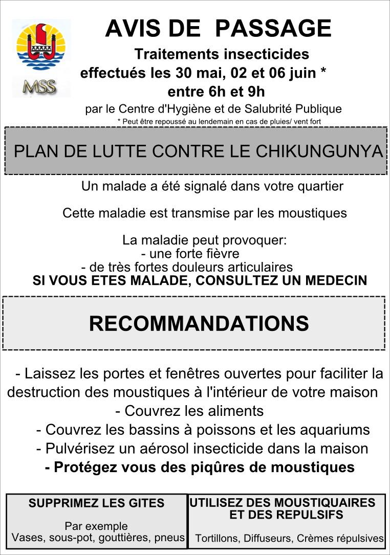 Premier cas de chikungunya confirmé en Polynésie française (communiqué)