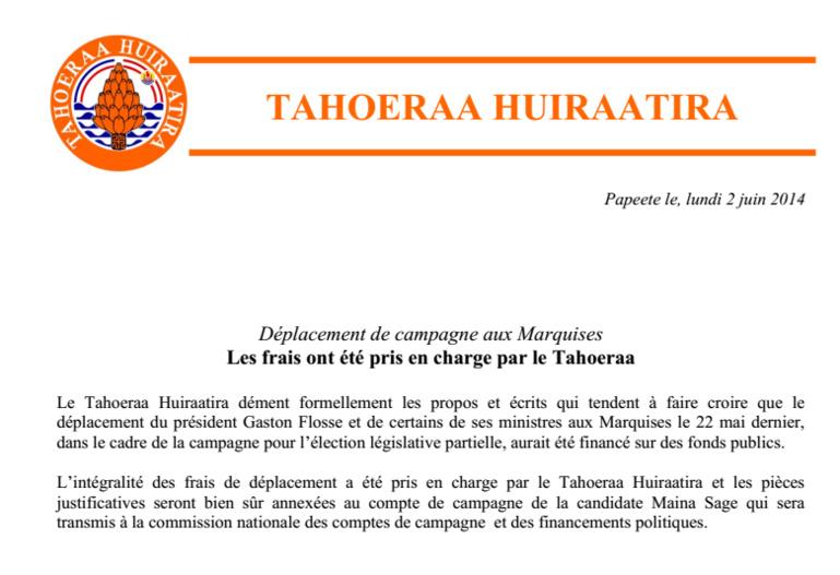 Communiqué: Précision du Tahoeraa Huiraatira sur la tournée législative partielle aux Marquises