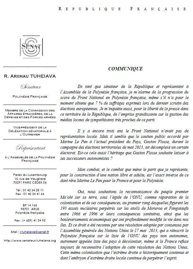Communiqué de Richard Tuheiava, au sujet des résultats du FN aux Européennes