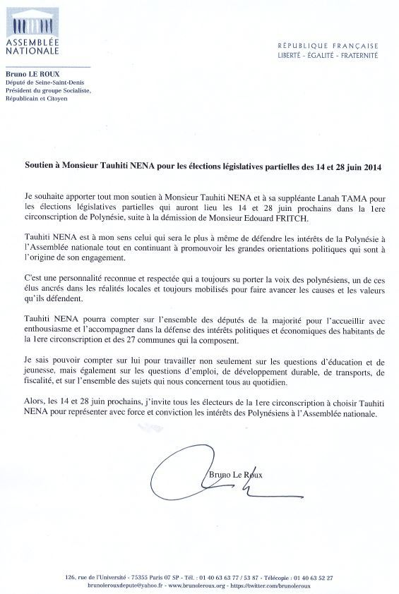 Législatives: Le Président du groupe socialiste à l'Assemblée nationale soutient Tauhiti Nena