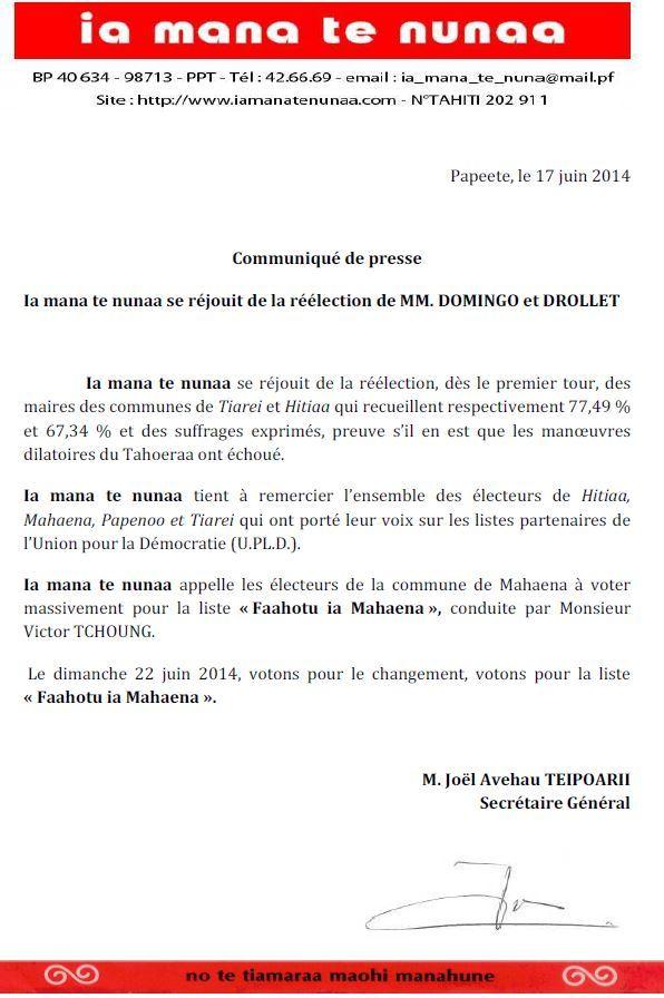 Communiqué Ia Mana Te Nunaa :  Réélection de MM. Domingo et Drollet
