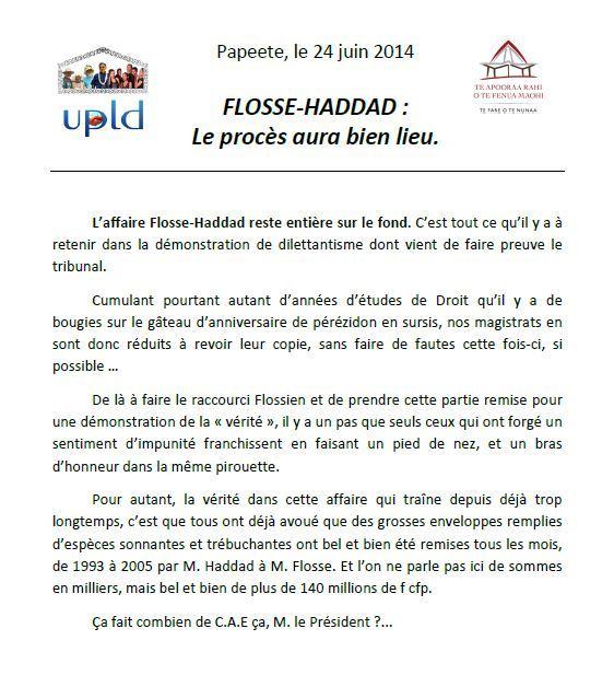 Communiqué UPLD: Haddad-Flosse le procès aura bien lieu