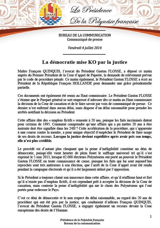 """Communiqué de la Présidence: """"La démocratie mise K.O par la justice"""""""