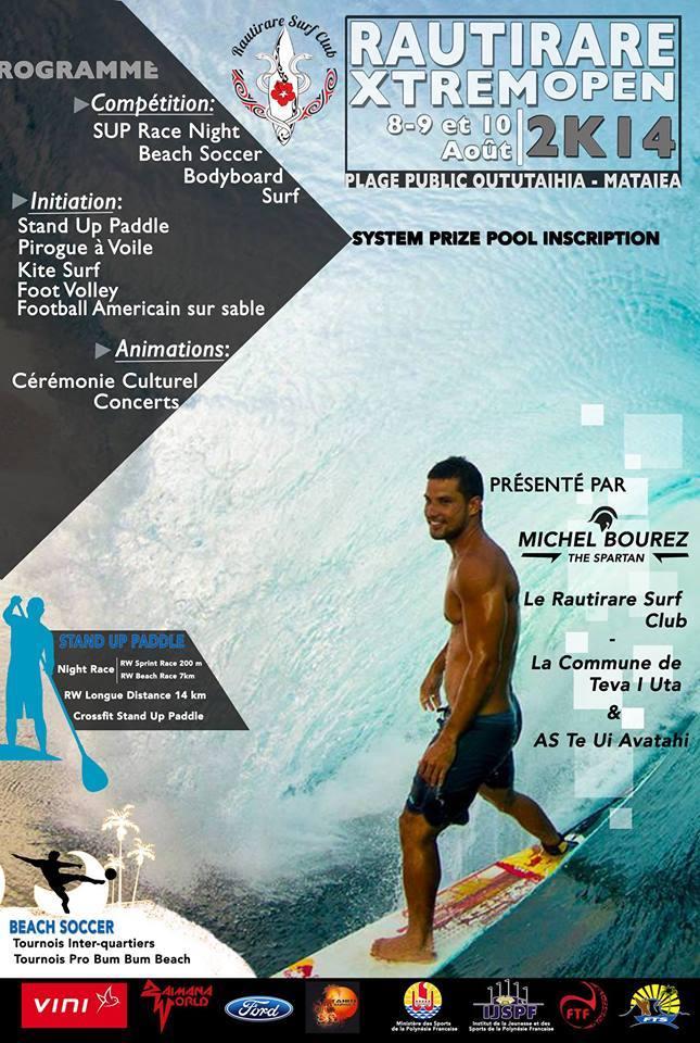 SUP, Beachsoccer, surf : Michel Bourez présente le Rautirare Xtrem 2014